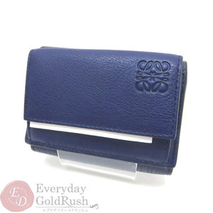 Beauty goods LOEWE Loewe trifold folded compact wallet Navy leather men's ladies