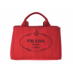 Prada Canapamini Canvas Rosso B2439G 2 WAY Tote Bag AB Rank PRADA with Gala Strap Used Ginza