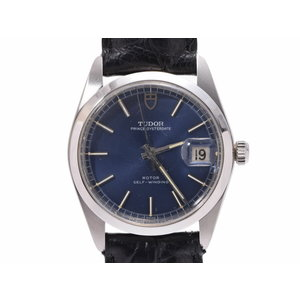 Tudor Prince Oyster Date Blue Dial 9050 Men's SS / Leather Automatic Watch Wrist AB Rank TUDOR Used Ginza