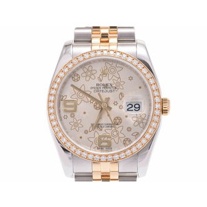 Rolex Datejust 116243 Flower Dial Diameter Bezel V Men's Women's YG / SS Automatic Watch A Rank Beautiful Item ROLEX Used Ginza
