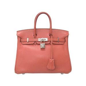 Hermes Birkin 25 Vau Swift Rosy Silver Hardware □ L Engraved Handbag Bag 0071 HERMES