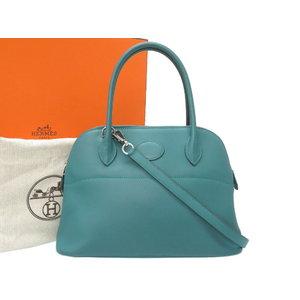 Like Hermes Boledo 27 Vau Swift Malachite Silver Hardware A Engraved (made in 2017) Handbag Bag with Strap 0072 HERMES