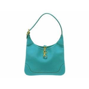 Hermes Trim 24 Chevro Turquoise Shoulder Hand Bag □ H Engraved 0078 HERMES