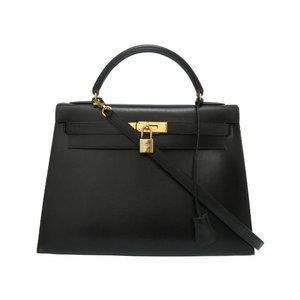 Hermes Kelly 32 outside sewing box calf black gold hardware 〇 Z stamped handbag with bag strike 0073 HERMES