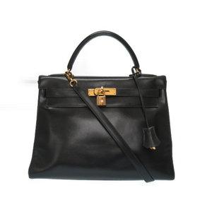Hermes Kelly 32 Box Calf Black 2 Way Shoulder Handbag X Engraved 0076 HERMES With Strap