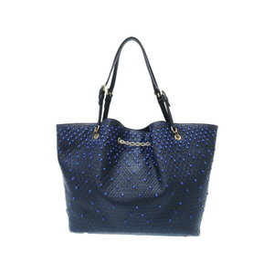 Tod's Studs Leather Chain Tote Bag Navy 0079 TOD'S