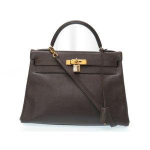 Hermes Kelly 32 Kushu Belt 2 Way Shoulder Handbag Dark Brown 〇 W Engraved 0075 HERMES With Strap