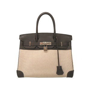 Hermes Birkin 30 Towaru Ash Trillon Clemence Ebene Silver Hardware □ I Engraved Handbag Bag Brown 0067 HERMES