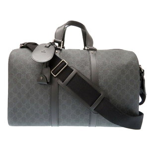 Unused Gucci GG Supreme Canvas Duffel Bost Boston Shoulder Bag 368554 KHN 7R Black 0049 GUCCI Men's