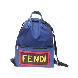 Fendery nylon / leather logo design rucksy day pack like new 7VZ034 blue 0063 FENDI men's