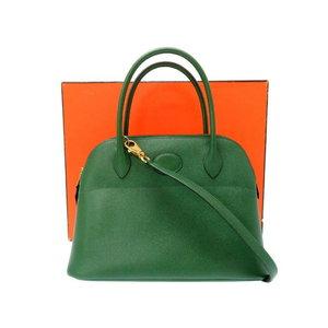 HERMES Kushubel Boledo 27 Shoulder Hand Bag Green 〇 W Engraved 0050 Women's