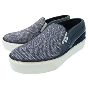 Unused Louis Vuitton thick bottom slip-on loafers sneaker canvas / leather 38 1/2 blue 2015 made 0231 LOUIS VUITTON