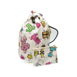 Moschino nylon drawstring shoulder bag with pouch white 0232 MOSCHINO