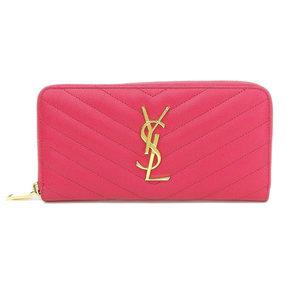 Real Saint Laurent Paris Round Zipper Long Purse Leather Pink Wallet