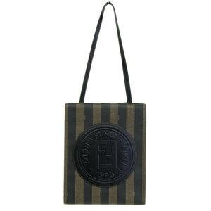 Genuine FENDI Fendi Pecan Tote Bag PVC Brown × Black Leather