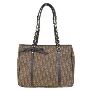 Genuine Christian Dior Trotter PVC Chain Tote Bag Brown Leather
