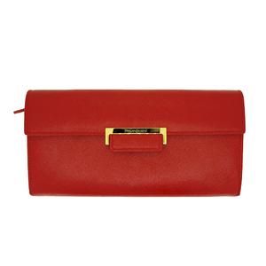 Auth Saint Laurent Women's Leather Long Wallet (tri-fold) Red
