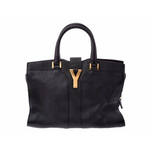 Saint Laurent Kabasus chic mini black ladies calf 2 WAY handbag A rank 美 品 YVES SAINT LAURENT second hand silver storage