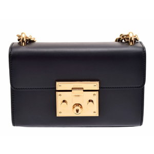 Gucci Padlock Small Shoulder Bag Black G Hardware Women's Leather A Rank beautiful item GUCCI Box Shop Card Used Ginza