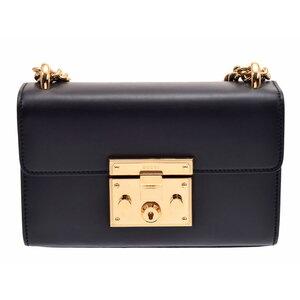 グッチ(Gucci) グッチ パドロック スモールショルダーバッグ 黒 G金具 レディース レザー Aランク 美品 GUCCI 箱 ショップカード 中古 銀蔵