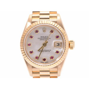 Rolex Datejust Shell Dial 79178 NGR U Woman YG 10P Ruby Automatic Watch A Rank 美 品 ROLEX Used Ginza