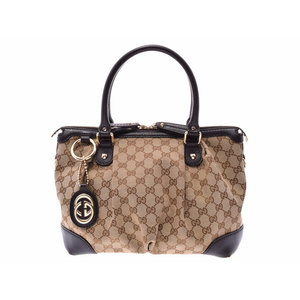 Gucci 2 wayai handbag GG pattern beige dark brown ladies canvas leather B rank GUCCI strap attaching second hand silver storage