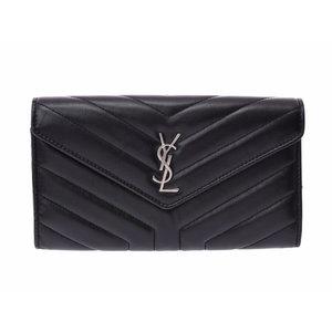 Saint Laurent long wallet Y quilting black SV metal fittings ladies lambskin unused beautiful goods SAINT LAURENT box secondhand silver store