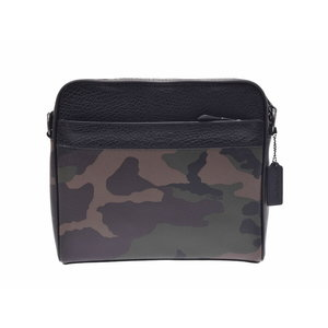 Coach shoulder bag Khaki camouflage pattern outlet F29052 Men's leather unused beauty goods COACH second hand silver storage