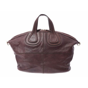 Givenchy Nightingale tea series men's ladies leather 2 WAY handbag B rank GIVENCHY strap attaching second hand silver storage
