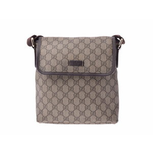 Gucci shoulder bag GG pattern Beige type men's lady's PVC leather AB rank GUCCI second hand silver storage