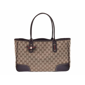 Gucci handbag GG pattern beige / tea ladies' canvas leather A rank beautiful goods GUCCI secondhand silver storage