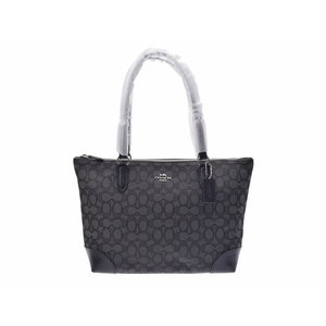 Coach tote bag Signature gray series / black outlet F29958 Ladies canvas leather unused beauty item COACH second hand silver storage