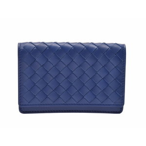 Bottega Veneta Card Case Intorechat Blue Men's Women's Leather Unused Beauty Item BOTTEGA VENETA Box Used Ginza