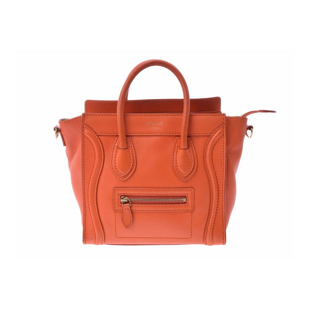 94bb37c87883 Celine luggage Nano shopper Orange Women s leather 2WAY handbag B rank  CELINE with strap Used silver storage