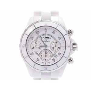 シャネル J12 クロノ 白文字盤 H2009 メンズ 白セラミック 9Pダイヤ 自動巻 腕時計 Aランク 美品 CHANEL 箱 ギャラ 中古 銀蔵