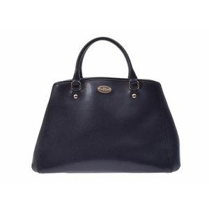 Coach 2WAY handbag navy F34607 ladies leather A rank beautiful goods COACH strap secondhand silver storage
