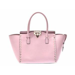 Valentino 2 WAY Handbag Rock Studs Pink Ladies Leather A Rank Mild Item VALENTINO Strap with Used Ginza