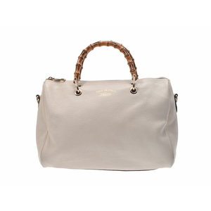Gucci 2 wayai handbag white ladies' calf bamboo GUCCI strap second hand silver storage
