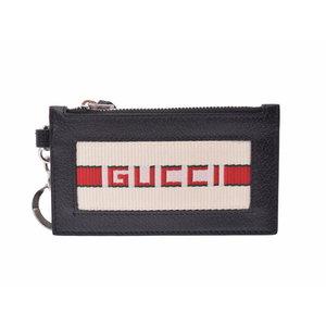 Gucci striped card case black men's ladies leather new item GUCCI Ginza