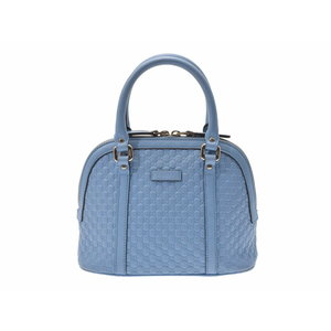 Gucci Micro Shima 2 Way Handbag Light Blue G Hardware Women's Leather Outlet B Rank GUCCI Strap Used Ginza