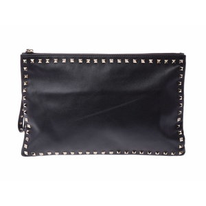 Valentino clutch bag rock studs black G fittings men's ladies leather B rank VALENTINO secondhand silver store