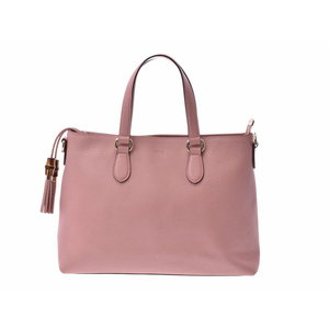 Gucci 2 Way tote bag pink ladies' calf bamboo outlet A rank beautiful goods GUCCI strap secondhand silver storage