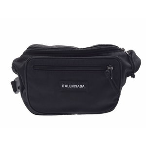 Balenciaga Explorer Belt Bag Noir Men's Women's Nylon Body A rank 美 品 BALENCIAGA second hand silver storage