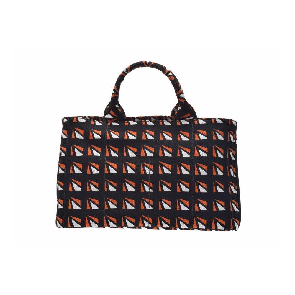 Prada Kanapa Black / Orange White B2642B Ladies Canvas 2WAY Tote Bag A rank 美 品 PRADA ス ト ラ ッ プ Used Ginza