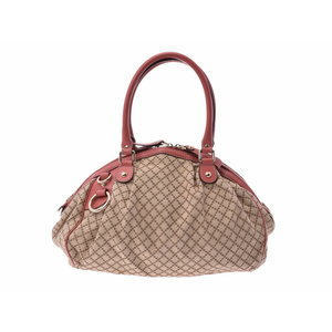 Gucci Diamante 2WAY handbag beige × pink ladies canvas with GUCCI strap Used silver storage