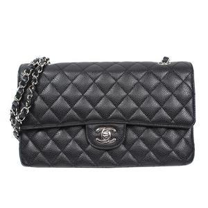 Chanel CHANEL Matrasse W Flap Chain Shoulder Bag A01112 Caviar Skin Black Silver Hardware