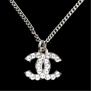 Chanel CHANEL Coco Mark Necklace A28942 Silver Metal / Rhinestone Women's