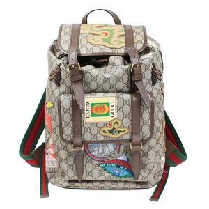 Gucci GUCCI Courier software GG Supreme backpack 473869 beige × dark brown rucksack