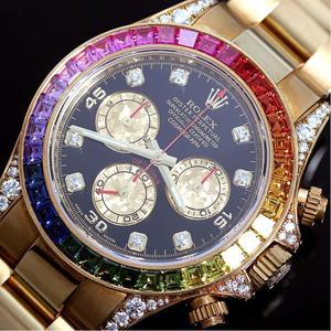 ROLEX Daytona Rainbow 116598 RBOW Automatic gold pure diamond sapphire chronograph Men's watch