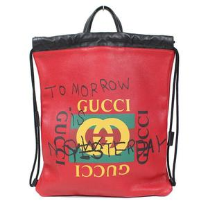 Gucci GUCCI draw string backpack 494053 red × black ladies